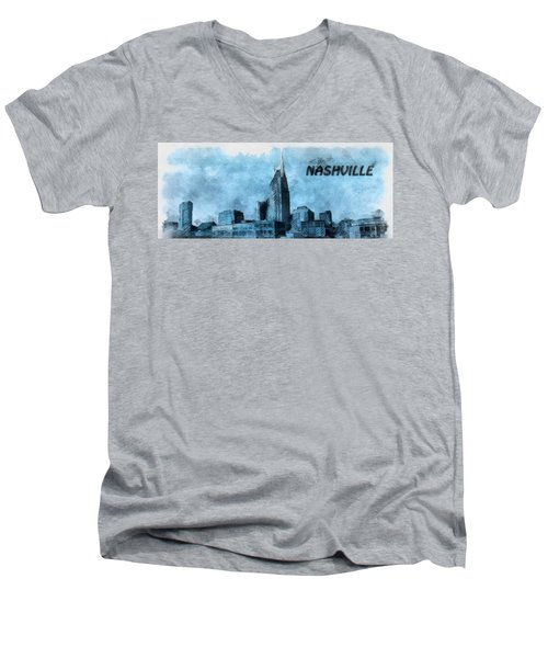 Nashville Tennessee In Blue Men's V-Neck T-Shirt by Dan Sproul