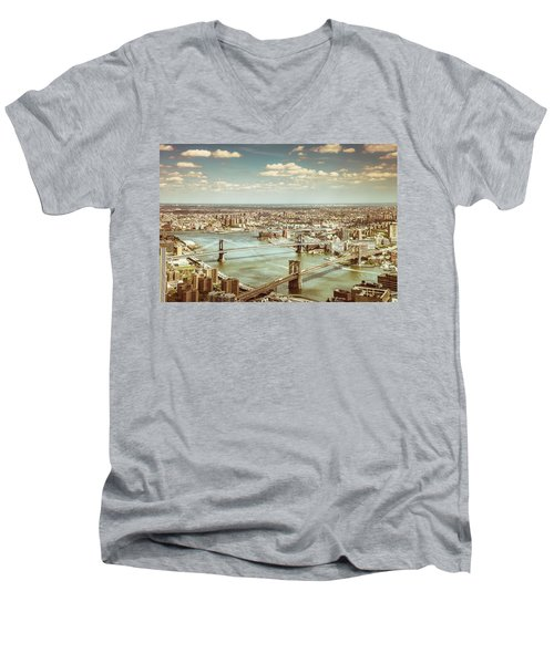 New York City - Brooklyn Bridge And Manhattan Bridge From Above Men's V-Neck T-Shirt by Vivienne Gucwa