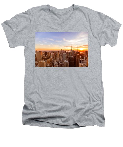 New York City - Sunset Skyline Men's V-Neck T-Shirt by Vivienne Gucwa