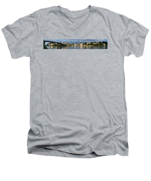 Old Bridge Over The Sea, Le Bono, Gulf Men's V-Neck T-Shirt by Panoramic Images