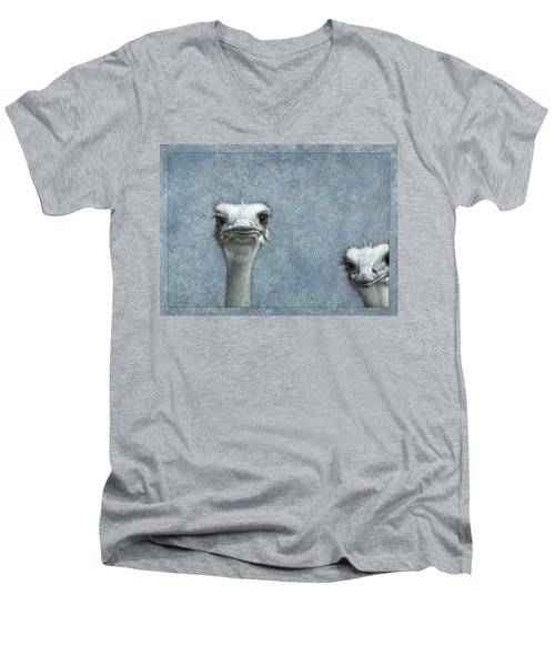 Ostriches Men's V-Neck T-Shirt by James W Johnson