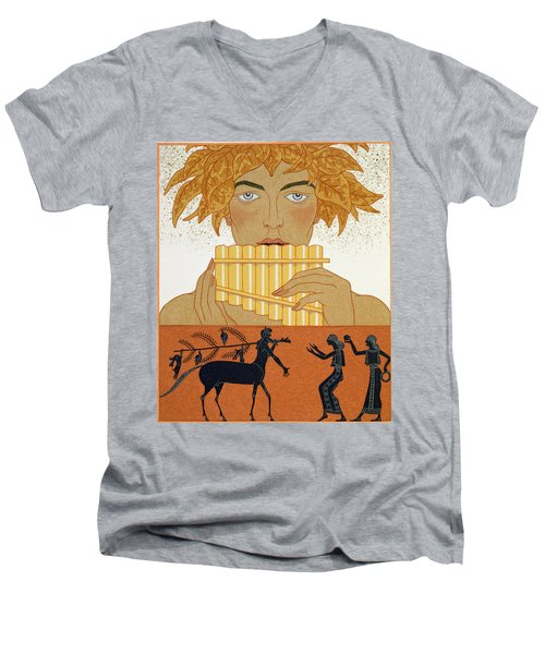Pan Piper Men's V-Neck T-Shirt by Georges Barbier