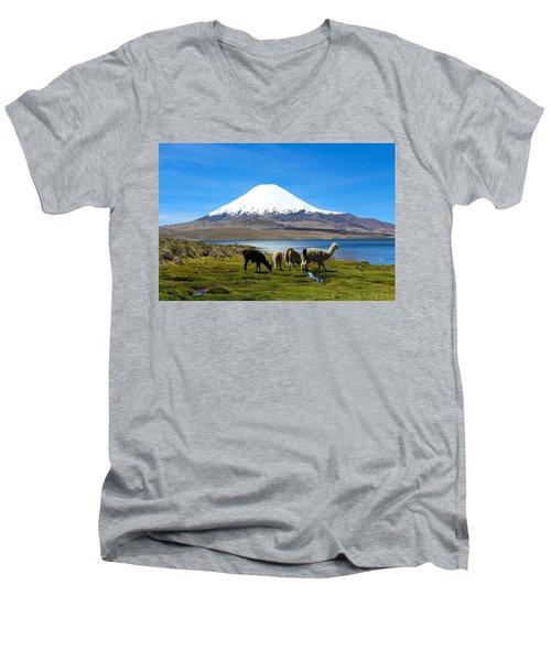 Parinacota Volcano Lake Chungara Chile Men's V-Neck T-Shirt by Kurt Van Wagner