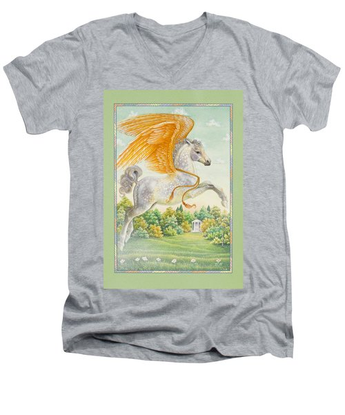 Pegasus Men's V-Neck T-Shirt by Lynn Bywaters