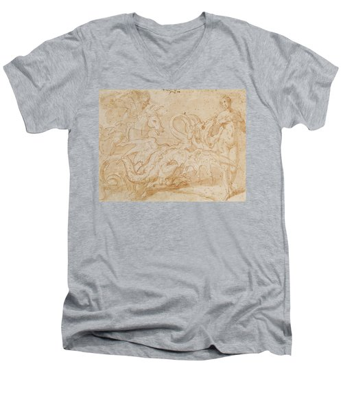 Perseus Rescuing Andromeda Red Chalk On Paper Men's V-Neck T-Shirt by or Zuccaro, Federico Zuccari