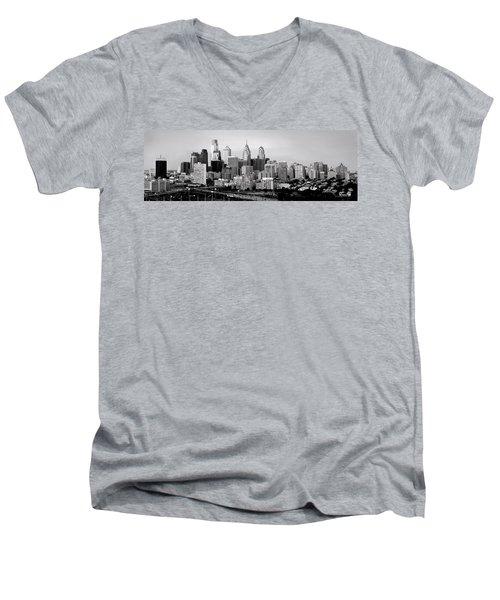 Philadelphia Skyline Black And White Bw Pano Men's V-Neck T-Shirt by Jon Holiday