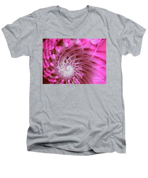 Pink Men's V-Neck T-Shirt by Lena Auxier