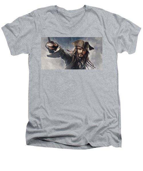 Pirates Of The Caribbean Johnny Depp Artwork 2 Men's V-Neck T-Shirt by Sheraz A