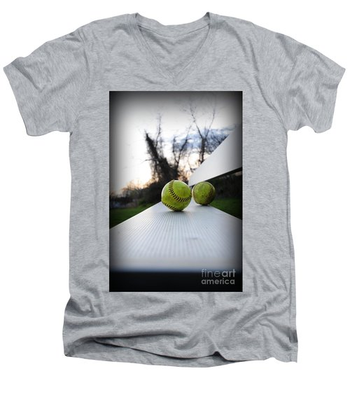 Play Ball Men's V-Neck T-Shirt by Paul Ward