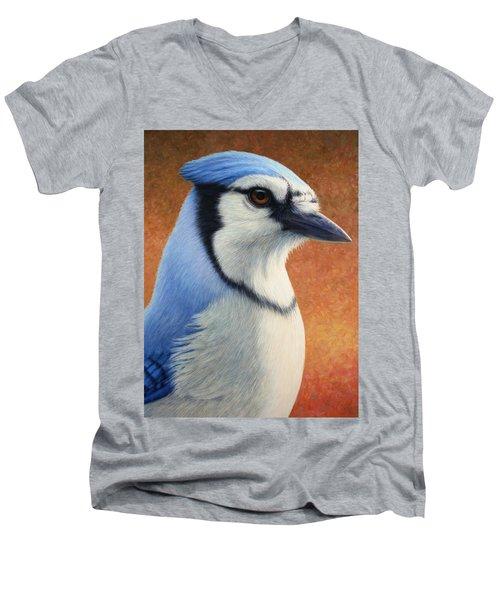 Portrait Of A Bluejay Men's V-Neck T-Shirt by James W Johnson
