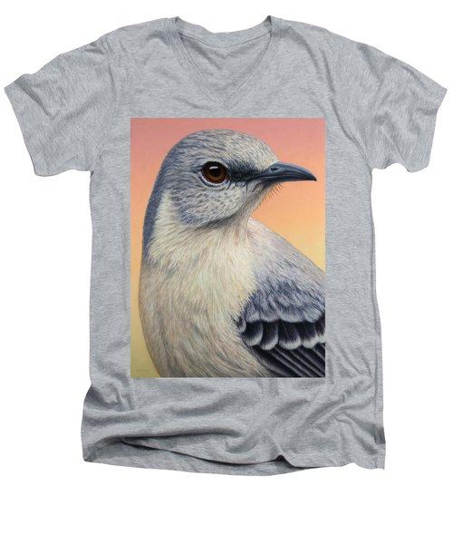Portrait Of A Mockingbird Men's V-Neck T-Shirt by James W Johnson
