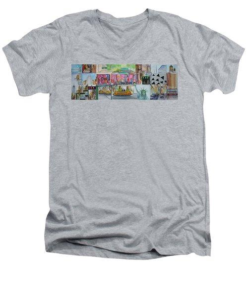 Postcards From New York City Men's V-Neck T-Shirt by Jack Diamond
