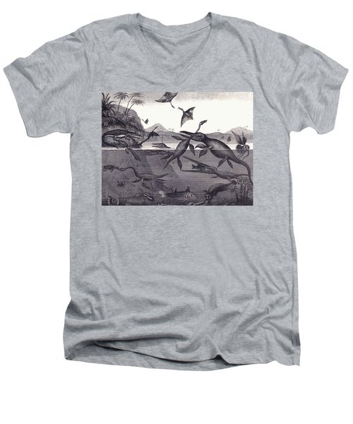 Prehistoric Animals Of The Lias Group Men's V-Neck T-Shirt by English School