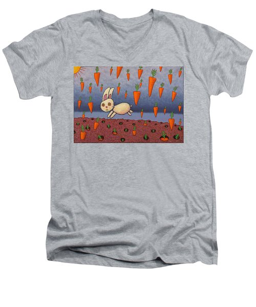 Raining Carrots Men's V-Neck T-Shirt by James W Johnson