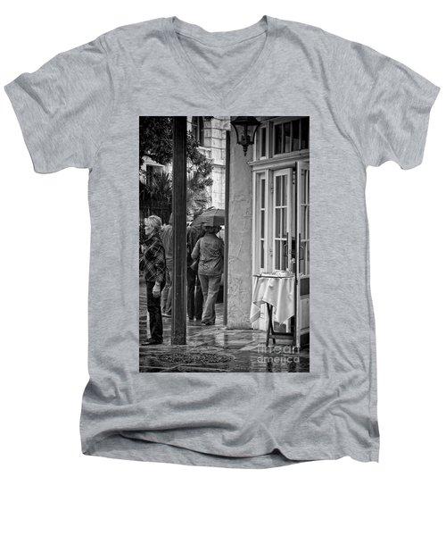 Rainy Day Lunch New Orleans Men's V-Neck T-Shirt by Kathleen K Parker