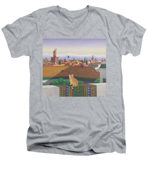 Rooftops In Marrakesh Men's V-Neck T-Shirt by Larry Smart