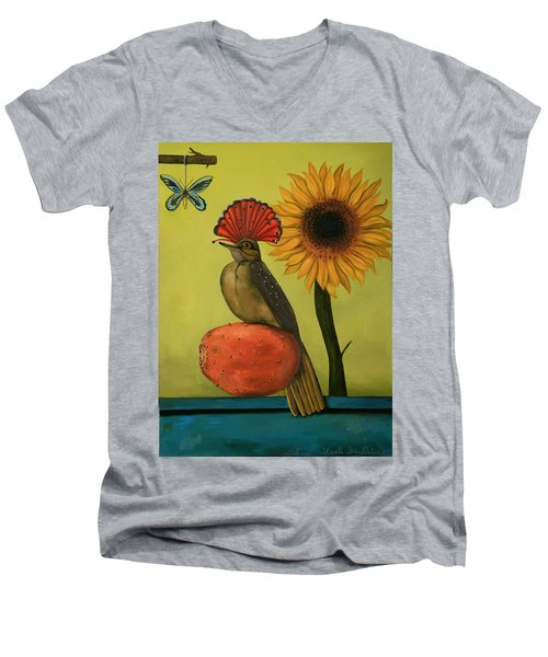 Royal Flycatcher  Men's V-Neck T-Shirt by Leah Saulnier The Painting Maniac
