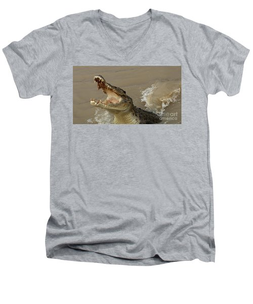 Salt Water Crocodile 2 Men's V-Neck T-Shirt by Bob Christopher