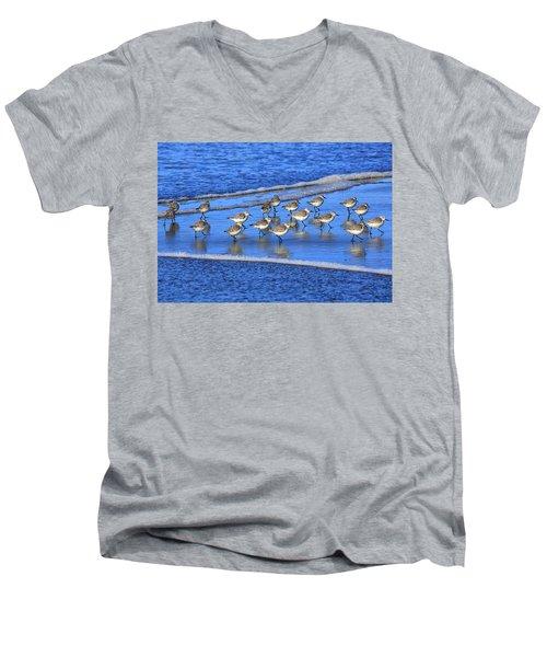 Sandpiper Symmetry Men's V-Neck T-Shirt by Robert Bynum
