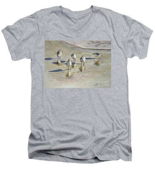Sandpipers 2 Watercolor 5-13-12 Julianne Felton Men's V-Neck T-Shirt by Julianne Felton