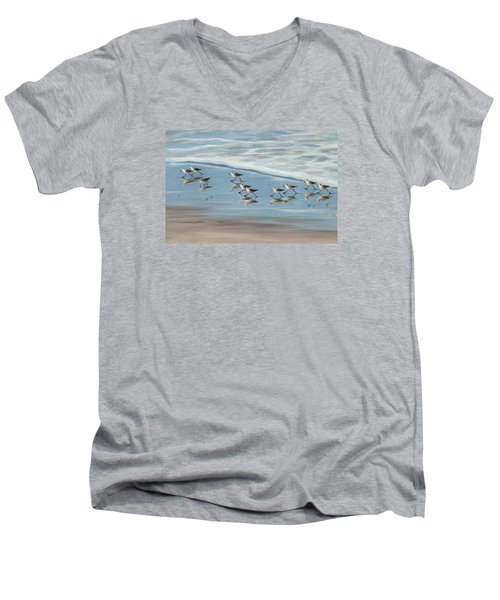 Sandpipers Men's V-Neck T-Shirt by Tina Obrien