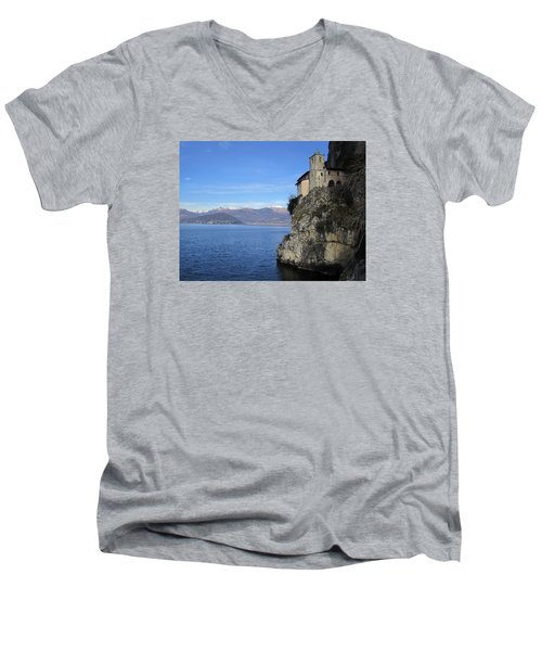 Men's V-Neck T-Shirt featuring the photograph Santa Caterina - Lago Maggiore by Travel Pics