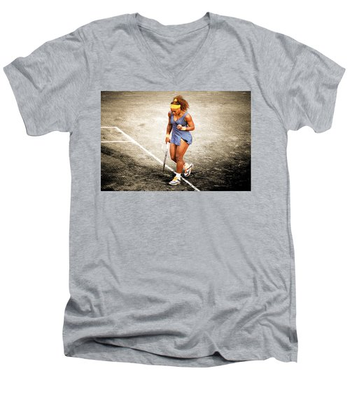 Serena Williams Count It Men's V-Neck T-Shirt by Brian Reaves