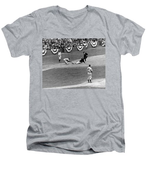 Spud Chandler Is Out At Third In The Second Game Of The 1941 Wor Men's V-Neck T-Shirt by Underwood Archives