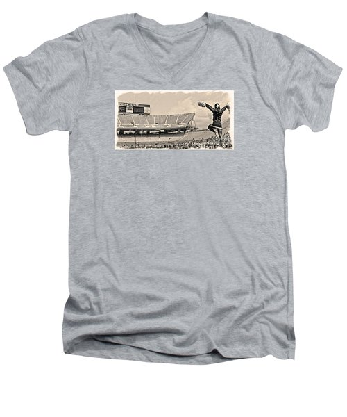 Stadium Cheer Black And White Men's V-Neck T-Shirt by Tom Gari Gallery-Three-Photography