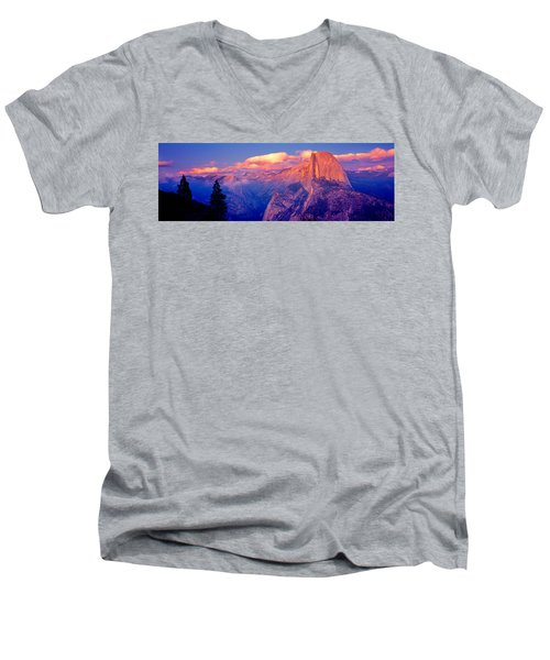 Sunlight Falling On A Mountain, Half Men's V-Neck T-Shirt by Panoramic Images