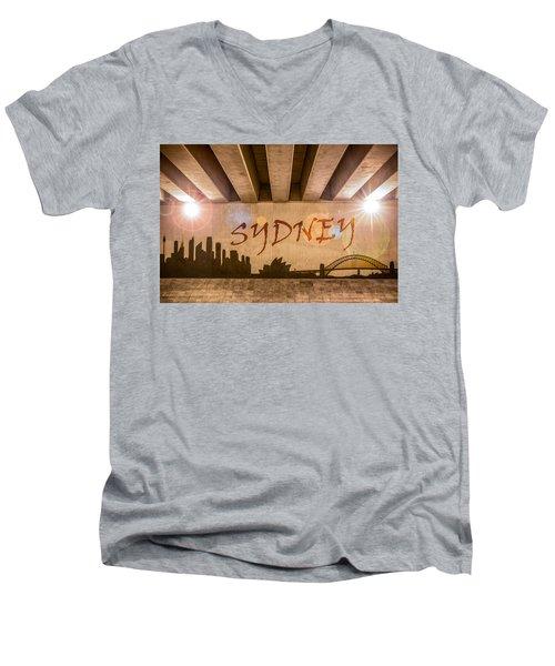 Sydney Graffiti Skyline Men's V-Neck T-Shirt by Semmick Photo