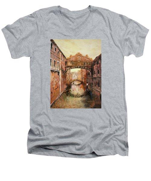 The Bridge Of Sighs Venice Italy Men's V-Neck T-Shirt by Jean Walker