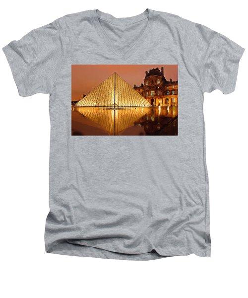The Louvre By Night Men's V-Neck T-Shirt by Ayse Deniz