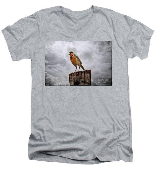 The Meadowlark's Song Men's V-Neck T-Shirt by Elizabeth Winter