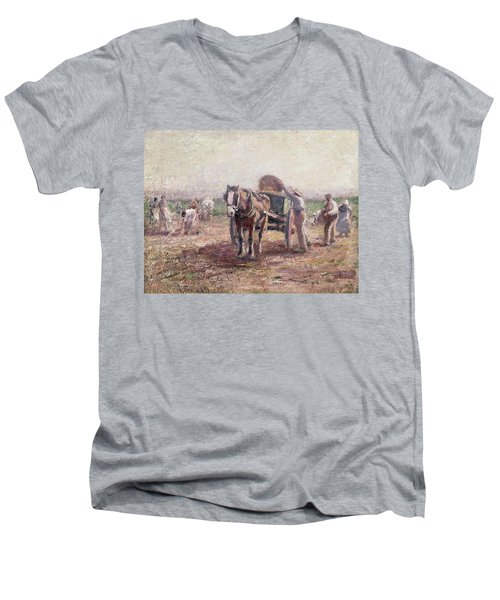 The Potato Pickers Men's V-Neck T-Shirt by Harry Fidler