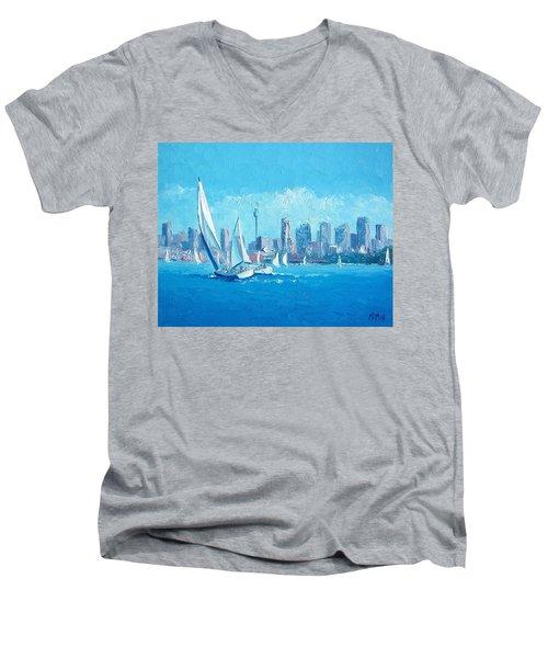 The Regatta Sydney Habour By Jan Matson Men's V-Neck T-Shirt by Jan Matson