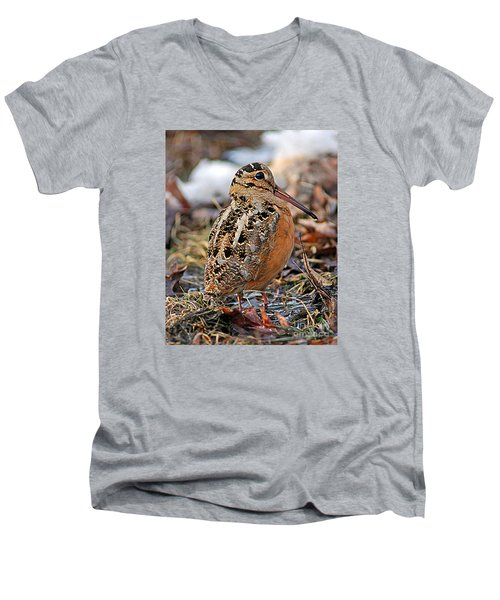 Timberdoodle The American Woodcock Men's V-Neck T-Shirt by Timothy Flanigan