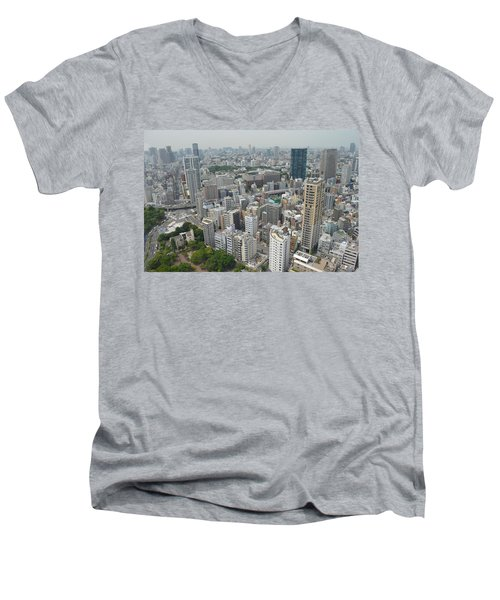 Tokyo Intersection Skyline View From Tokyo Tower Men's V-Neck T-Shirt by Jeff at JSJ Photography