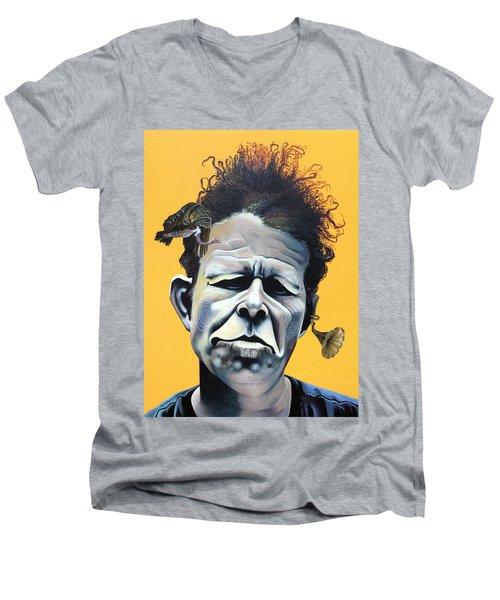 Tom Waits - He's Big In Japan Men's V-Neck T-Shirt by Kelly Jade King