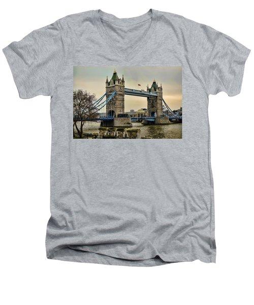 Tower Bridge On The River Thames Men's V-Neck T-Shirt by Heather Applegate