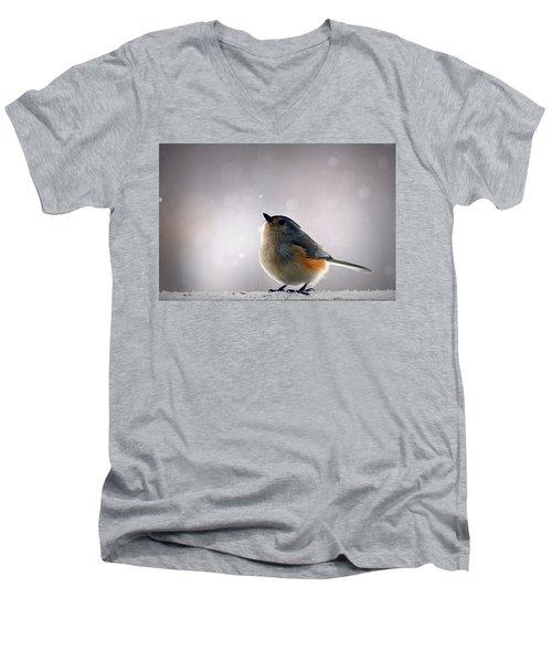 Tufted Titmouse Men's V-Neck T-Shirt by Cricket Hackmann