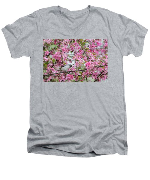 Tufted Titmouse In A Pear Tree Men's V-Neck T-Shirt by Bill Wakeley