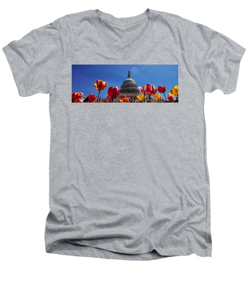 Tulips With A Government Building Men's V-Neck T-Shirt by Panoramic Images