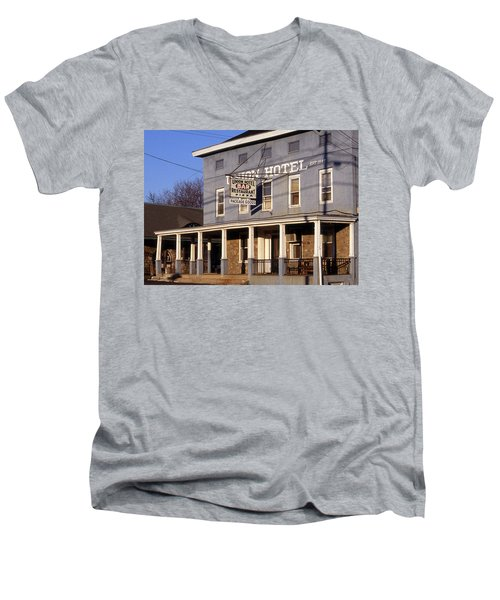 Union Hotel Men's V-Neck T-Shirt by Skip Willits