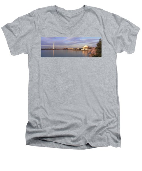 Usa, Washington Dc, Tidal Basin, Spring Men's V-Neck T-Shirt by Panoramic Images
