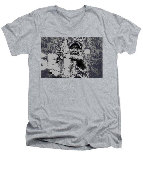 Venus Williams Paint Splatter 2e Men's V-Neck T-Shirt by Brian Reaves