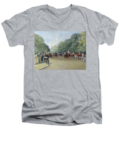 View Of Hyde Park With Figures On Rotten Row  Men's V-Neck T-Shirt by Albert Jnr Ludovici