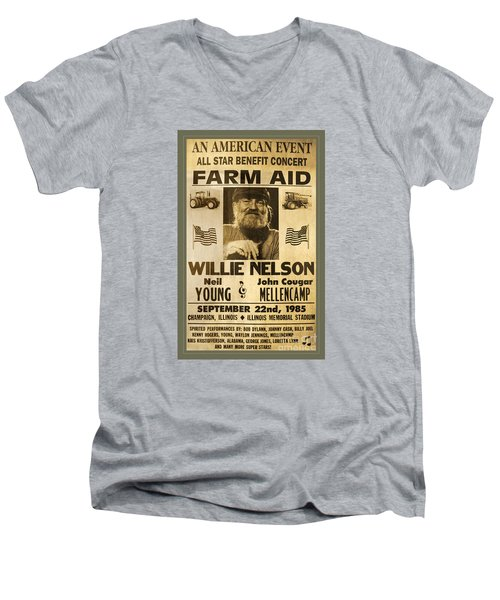 Vintage Willie Nelson 1985 Farm Aid Poster Men's V-Neck T-Shirt by John Stephens