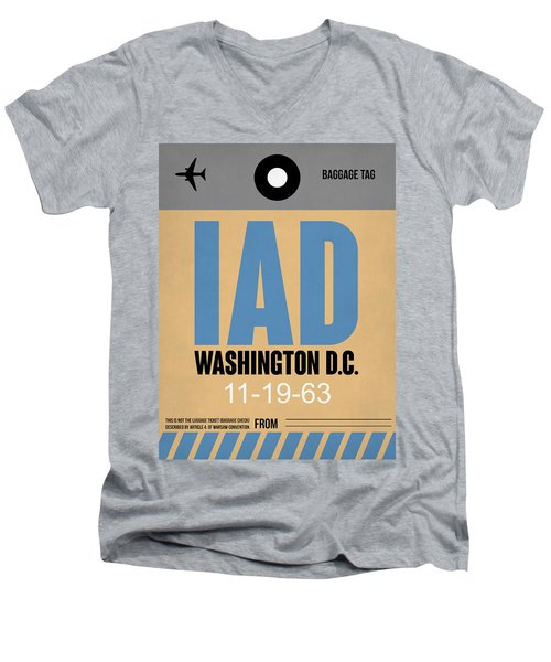 Washington D.c. Airport Poster 3 Men's V-Neck T-Shirt by Naxart Studio
