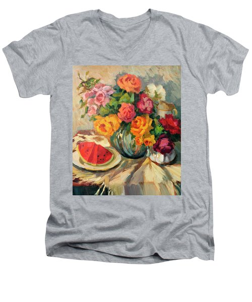 Watermelon And Roses Men's V-Neck T-Shirt by Diane McClary